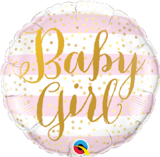 Baby Girl Pink Stripes Foil Helium Balloon